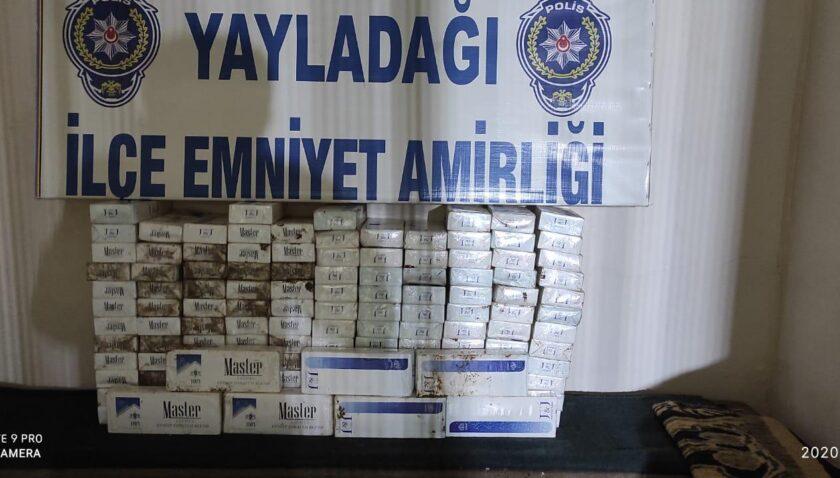 Yayladağı'nda 144 karton kaçak sigara