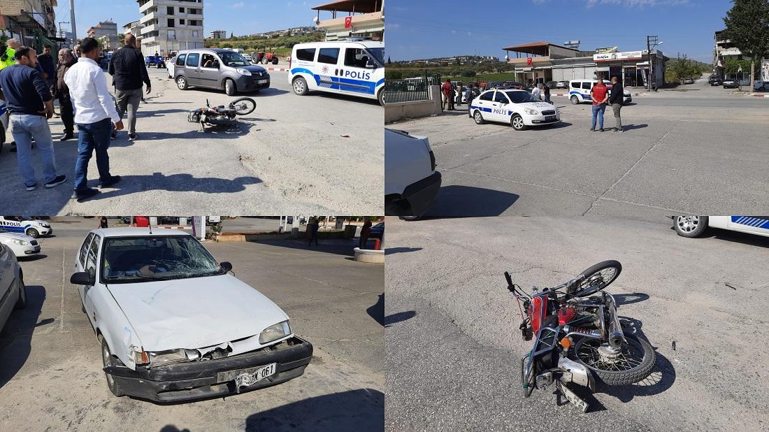 Otomobil motosikletle çarpıştı: 2 yaralı!